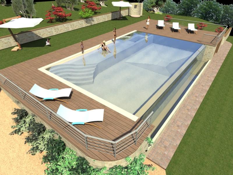 Studio longetti progetto piscina privata con sfiorno bettona assisi perugia bettona - Progetto villa con piscina ...
